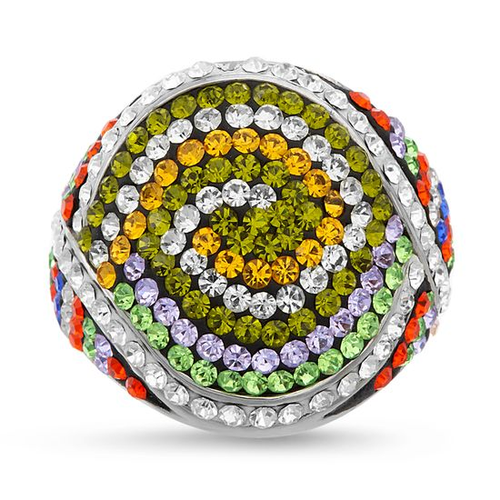 Imagen de Silver-Tone Stainless Steel Multi-Color Crystal Swirl Dome Ring Size 10