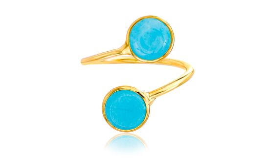 Imagen de Gold-Tone Alloy Turquoise Stone Bypass Ring Size 6
