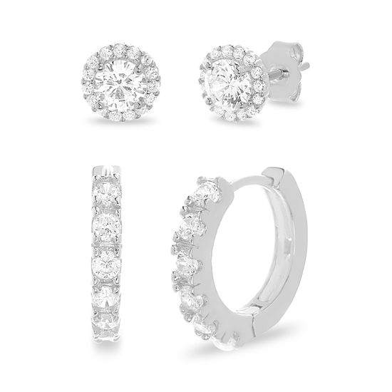 Imagen de Sterling Silver Cubic Zirconia Round Halo Stud and Pave Huggie Earring Set