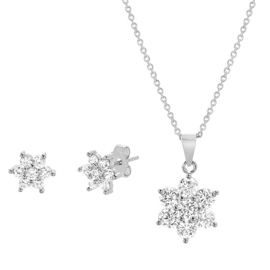Picture of Rhodium Plated Brass Cubic Zirconia Flower Design Pendant Cable Chain Necklace & Earring Set