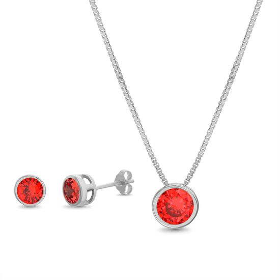 Imagen de Ruby Red Cubic Zirconia Bezel Necklace and Earring Set in Sterling Silver