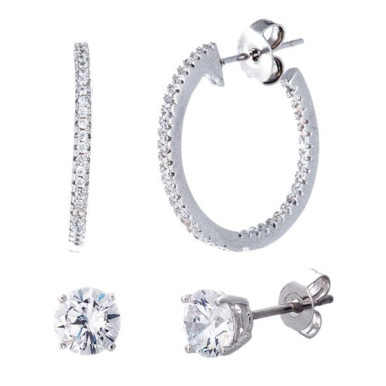 Imagen de Sterling Silver 2 Piece Cubic Zirconia Stud 20mm Hoop Post Earring Set