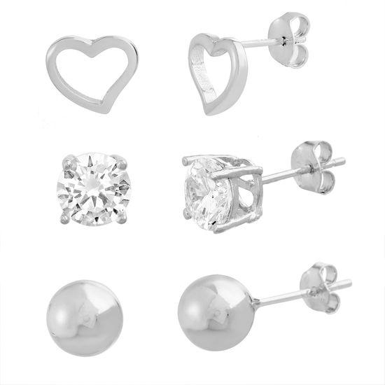 Imagen de Sterling Sliver Cubic Zirconia Stud Ball Open Heart 3 Piece Earring Set
