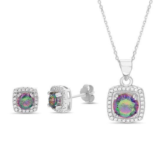 Imagen de Sterling Silver Cubic Zirconia Dazzling Square Diamond Halo Earring and Pendant Set