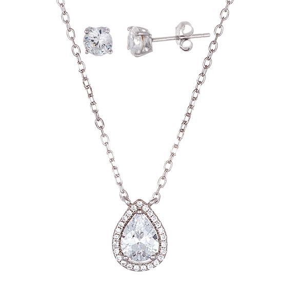 Imagen de Sterling Silver Teardrop Halo Cubic Zirconia Pendant Necklace and Post Earring Set