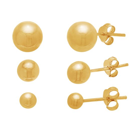 Imagen de Ball Trio Earring Set in Gold over Sterling Silver