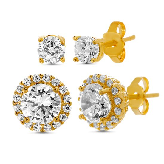 Picture of Sterling Silver Cubic Zirconia Halo & Stud Duo Earring Set