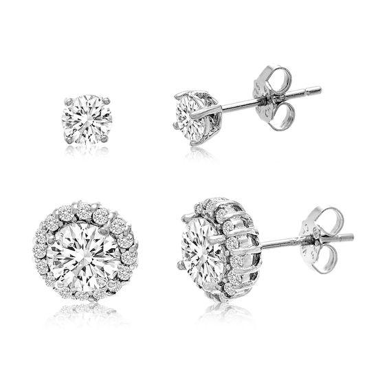 Imagen de Cubic Zirconia 2pc Stud Earring Set in Sterling Silver
