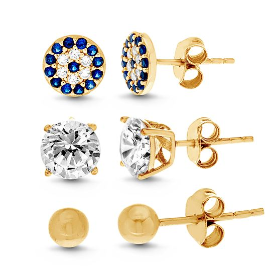Imagen de Sterling Silver Cubic Zirconia 3 Piece Round Evil Eye Ball and 4 Prong Stud Post Earring Set
