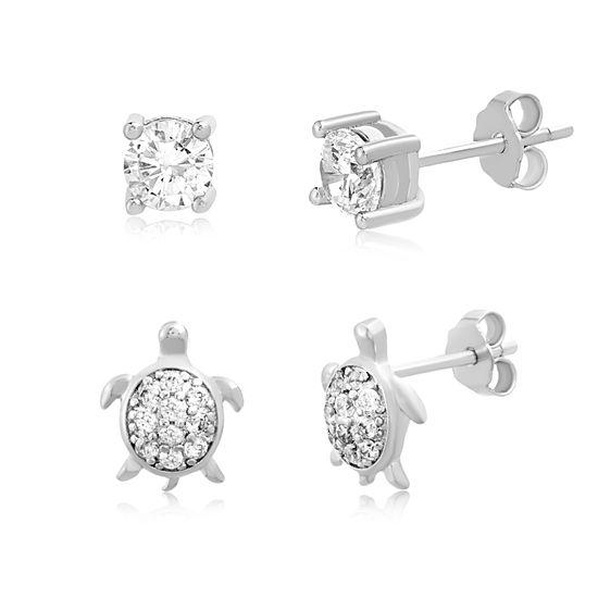 Imagen de Sterling Silver Cubic Zirconia Turtle and Stud Earring Set