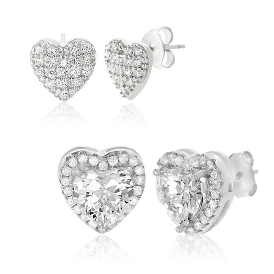 Imagen de Rhodium Plated Sterling Silver Cubic Zirconia Pave & Halo Heart Post Duo Earring Set