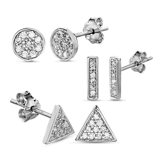 Picture of Sterling Silver Pave Cubic Zirconia Circle/Triangle/Rectangle Bar Post Earring Set