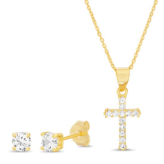 Imagen de Sterling Silver Cubic Zirconia 21mm Cross Pendant and 4mm Earring Set