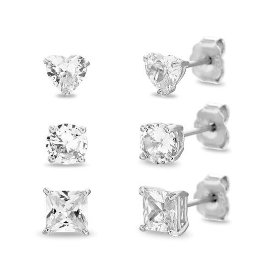Imagen de Sterling Silver 3 Piece Heart/Round/Square Cubic Zirconia Stud Post Earring Set