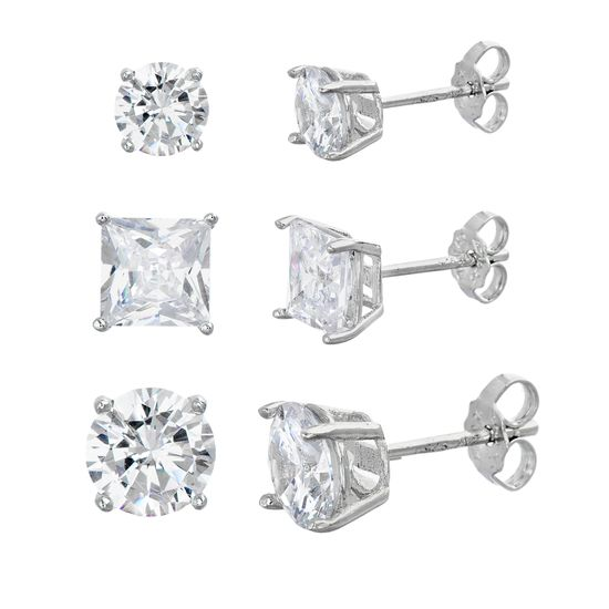 Imagen de Sterling Silver Cubic Zirconia Round/Square Stud Earring Set