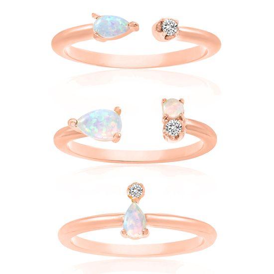 Imagen de Sterling Silver White Opal & Cubic Zirconia Trio Stackable Ring Size 7