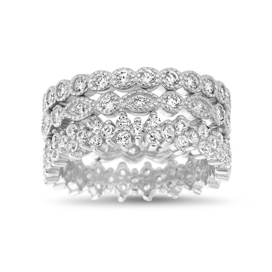 Imagen de Sterling Silver Cubic Zirconia Stackable Ring Set Size 7