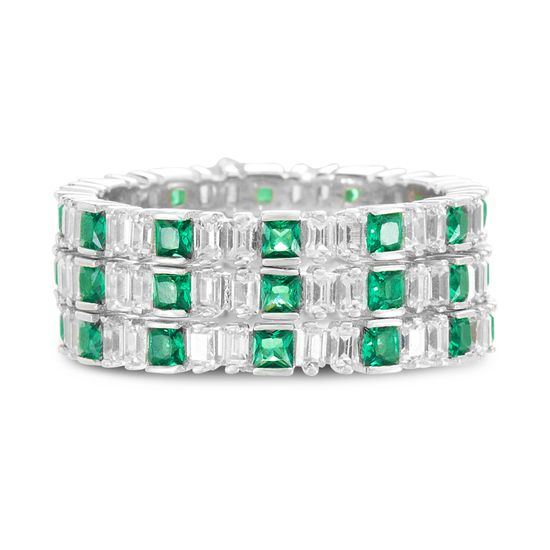 Imagen de Sterling Silver Cubic Zirconia Clear Baguette and Purple Square Eternity Band Ring Set Size 8