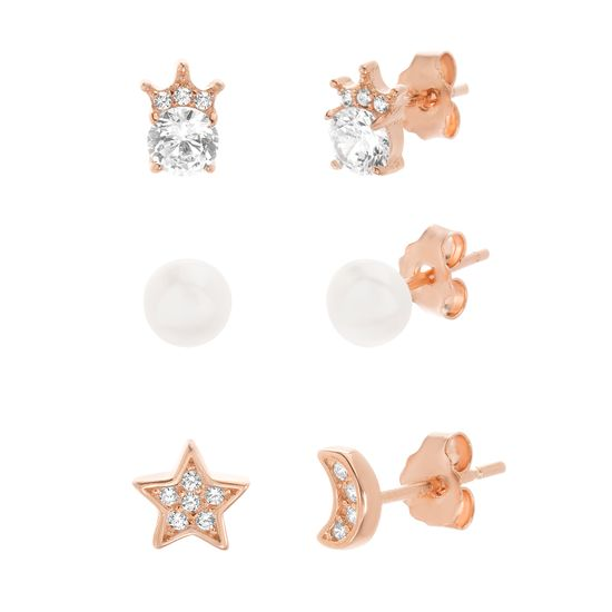 Imagen de Sterling Silver Cubic Zirconia/Pearl Starburst/Crescent/ Crown Round Design Trio Earring Set