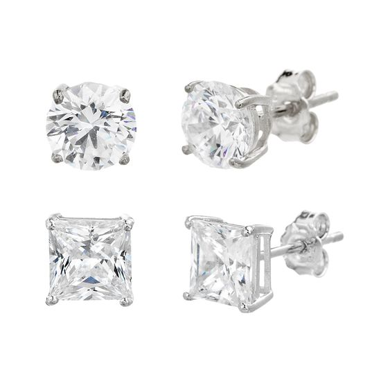 Imagen de Sterling Silver Round/Square Cubic Zirconia Duo Post Earring Set