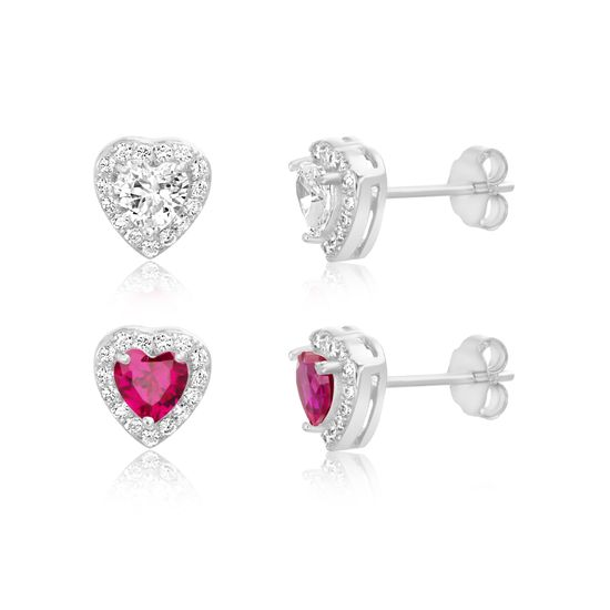 Picture of Sterling Clear/Ruby  Cubic Zirconia Heart Design 2pc Post Set Earring
