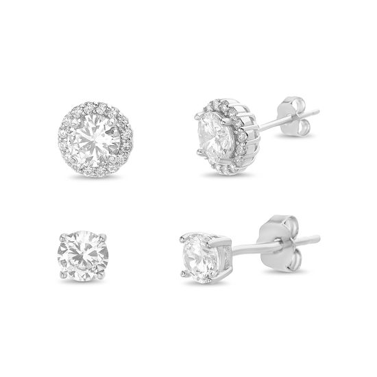 Imagen de Sterling Silver Cubic Zirconia Round/ Square Halo And Round Cut Stones 3pc Post Earring Set