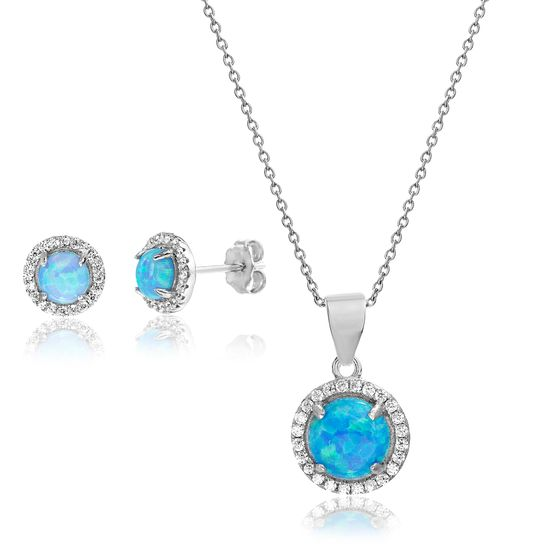 Imagen de Sterling Silver Blue Opal W/CZ Border On Cable Chain Necklace & Post Earring Set