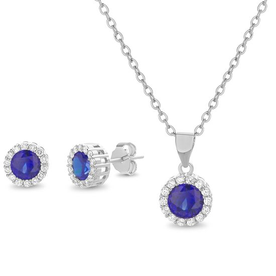 Imagen de Blue and Clear Cubic Zirconia Halo Necklace and Earring Set in Sterling Silver
