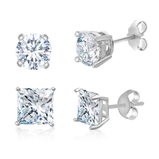 Imagen de Sterling Silver Cubic Zirconia 4 Prong Square and Circle Stud Duo Earring Set