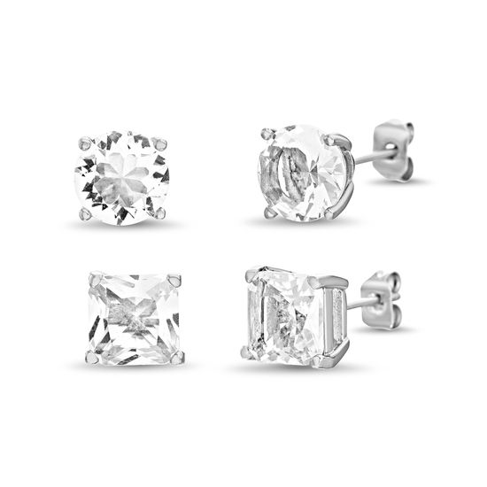 Picture of Sterling Silver Cubic Zirconia 4 Prong Square/Circle Stud Post Earring Set