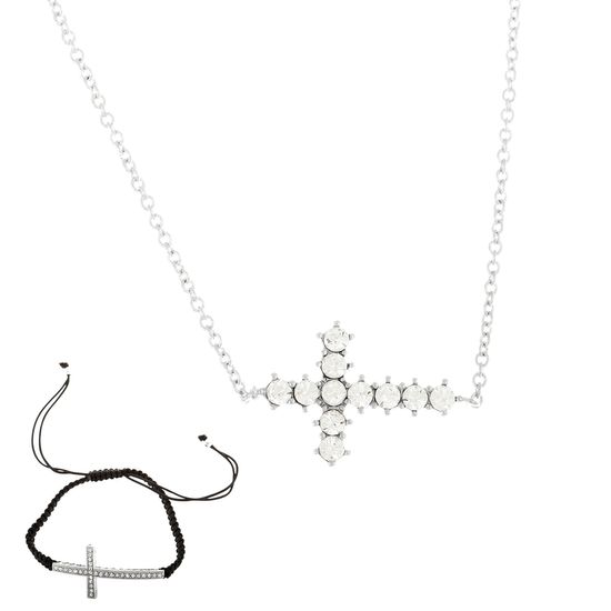 Imagen de Silver-Tone Brass Cubic Zirconia Adjustable Cross Bracelet and Necklace Set