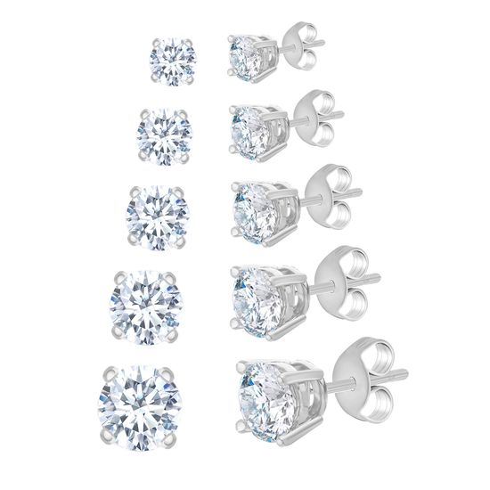 Imagen de 5 Pair Round Cubic Zirconia Stud Earring Set in Rhodium over Brass