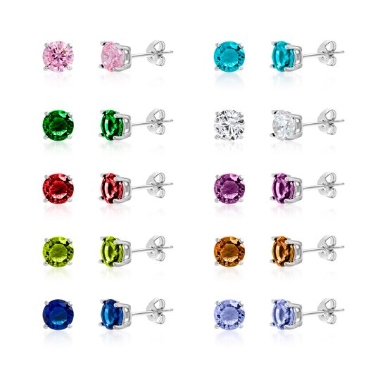 Imagen de Silver-Tone Brass Cubic Zirconia 5mm 4 Prong Multi Color Birthstone Earring Set