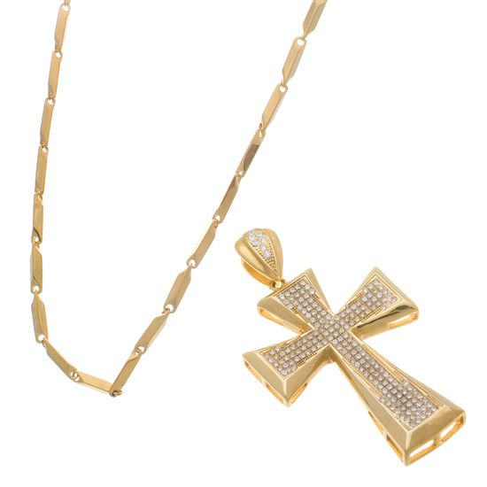 Imagen de Gold-Tone Stainless Steel Pave Cross Pendant and Necklace Set