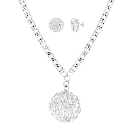 Imagen de Silver-Tone Stainless Steel Lion Design Pendant and Double Curb Chain Necklace and Earring Set