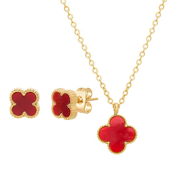 Imagen de STAINLESS STEEL GOLD IP DANGLING RED  CLOVER ON 14+2 CABLE CHAIN CHOKER NECKLACE & POST EARRING SET