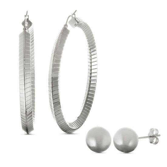 Imagen de Silver-Tone Stainless Steel 50/8mm Hoop and Ball Stud Earring Set