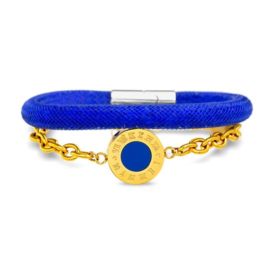 Imagen de Two-Tone Stainless Steel 2pc Roman Numeral Disc Charm Rolo Chain and Blue Crystal Mesh Chain Bracelet Set