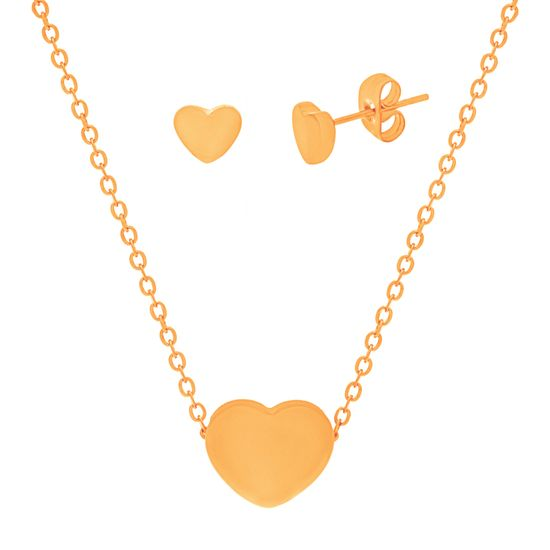 Imagen de Gold-Tone Stainless Steel High Polished Heart Earring and Necklace Set