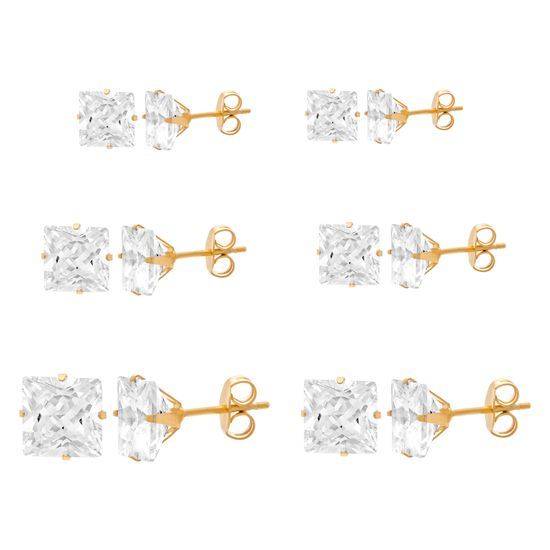 Imagen de Gold-Tone Stainless Steel Square Cubic Zirconia 6-Pair Stud Earring Set