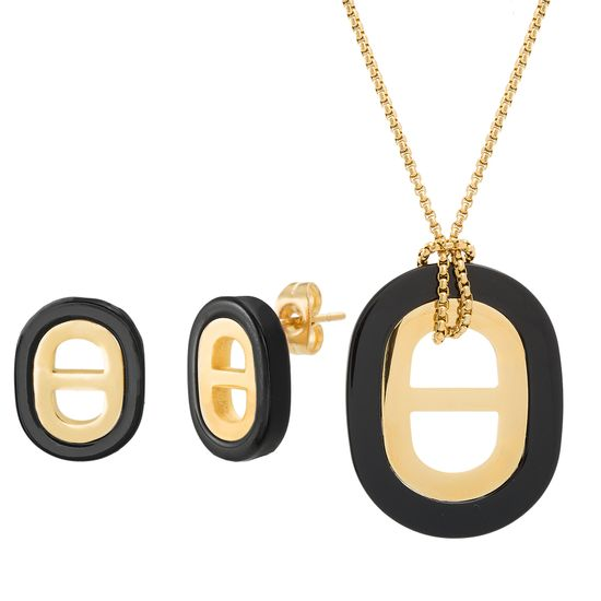 Imagen de Gold-Tone Stainless Steel Black Oval Necklace and Earrings Set