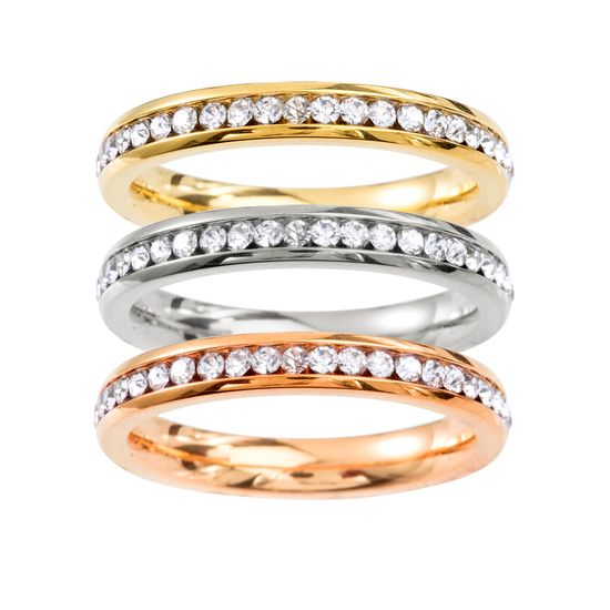 Imagen de Tri-Tone Stainless Steel Cubic Zirconia 3 Piece Single Row Pave Eternity Ring Set