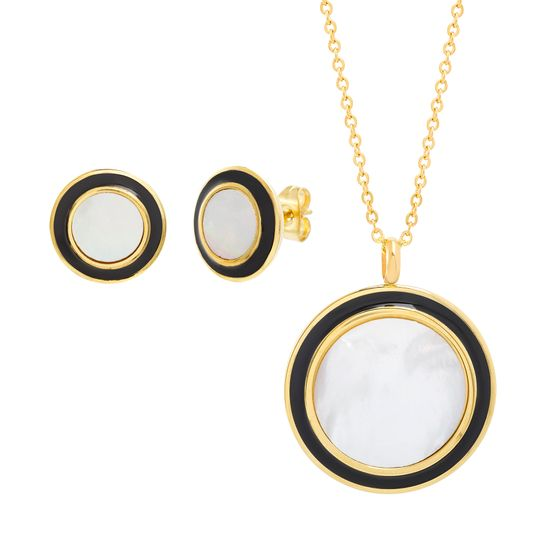 Imagen de STAINLESS STEEL GOLD IP MOTHER OF PEARL ROUND W/BLACK ENAMEL BORDER 16+2 ROLO CHAIN NECKLACE & POST EARRING SET