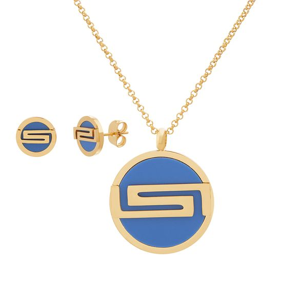 Imagen de Gold Tone Stainless Steel Royal Blue Round Disc Post Earring/Necklace Set