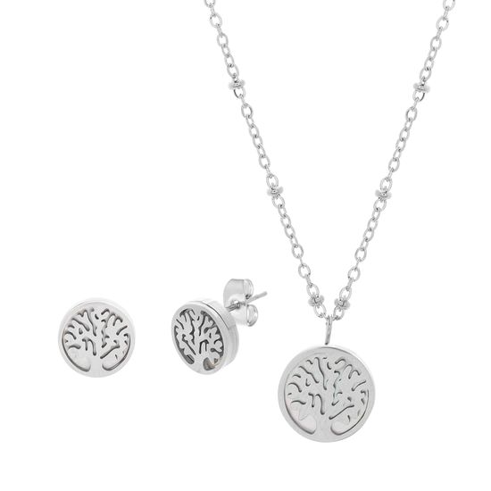 Imagen de Silver-Tone Stainless Steel Freshwater Pearl Tree of Life Bead Station Cable Chain Necklace & Earring Set