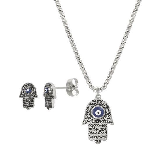 Imagen de Silver-Tone Stainless Steel White/Navy Blue Evil Eye Hamsa Hand Pendant 20 Box Chain Necklace and 10mm Post Earring Set