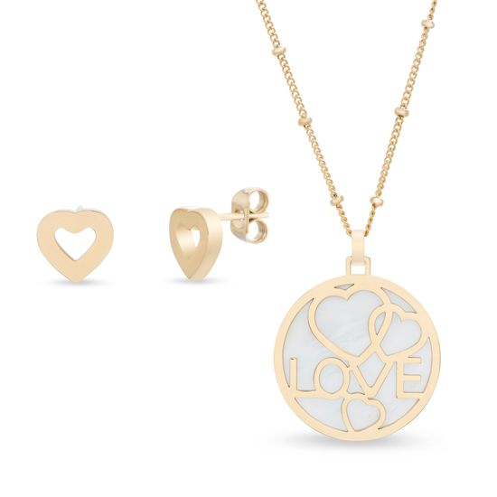 Imagen de Silver-Tone Stainless Steel Mother of Pearl/Heart/Love Disc Pendant 18 Cable Chain Necklace