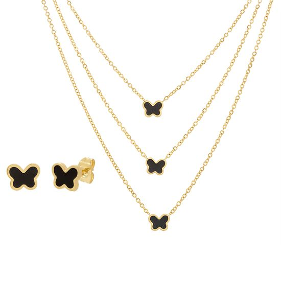 Imagen de Black Enamel Butterfly Charms on Triple Layer Cable Chain Necklace & Earring Set in Gold IP Stainless Steel