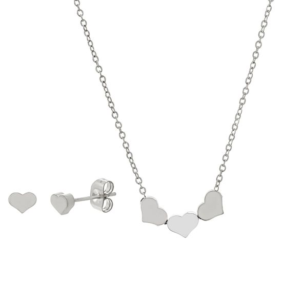Imagen de Silver-Tone Stainless Steel Trio Heart Cable Chain Necklace and Heart Post Earring Set