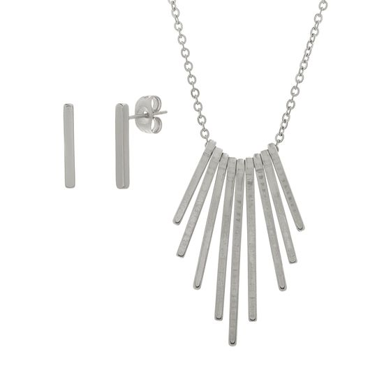 Imagen de Silver-Tone Stainless Steel Dangling Bar Pendant Cable Chain Necklace and Post Earring Set